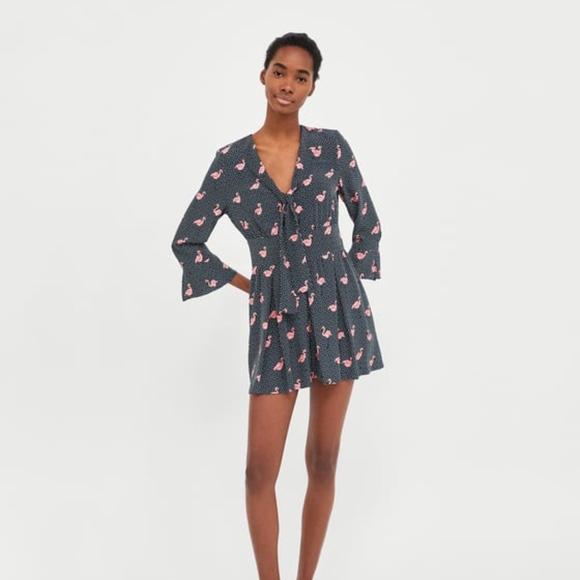 c36587ff Zara Pants | Navy Blue Polkadot And Flamingo Jumpsuit | Poshmark